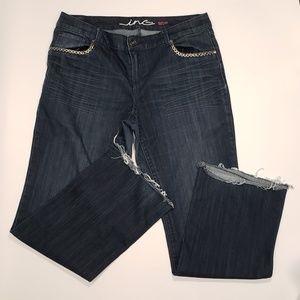 INC boot cut dark wash jeans size 14